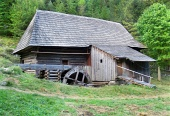 Preserved wooden water-powered mill in Oblazy