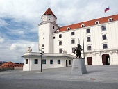 Courtyard of Bratislava Castle with statue of the King Svatopluk