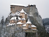 The famous Orava Castle in winter