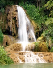 Waterfall on travertine rock