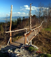 Wooden bridge over the abyss
