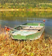 Boat by Liptovska Mara lake, Slovakia