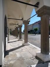 Pillars of Levoca's townhall arcade