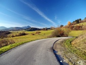 Autumn road at Liptov, Slovakia