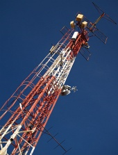 Broadcasting transmitter against the blue sky