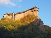 Orava Castle at sundown during autumn