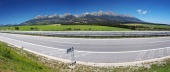 Panorama of highway and High Tatras